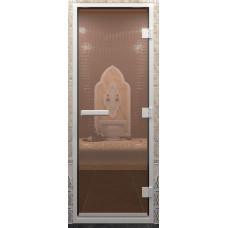 Дверь стеклянная в хамам Бронза 190х70