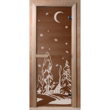 Дверь стеклянная Бронза Зима 190*70 (коробка хвоя)