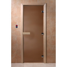 Дверь стеклянная Бронза матовая 210х70 (коробка листва)