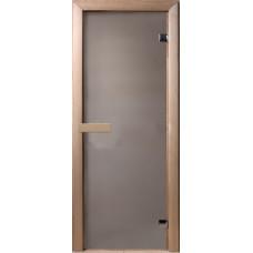 Дверь стеклянная Сатин 190х70, 6мм, 2 петли (коробка хвоя)