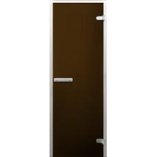 Дверь стеклянная в хамам Бронза матовая лайт 190х70 Z-образный профиль