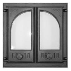 Дверца K501 топочная 410х410 мм застекленная, двухстворчатая