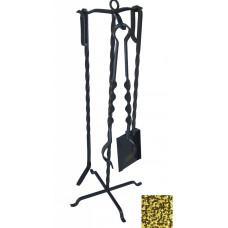 Набор каминный 3 предмета 65 см золото ковка