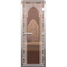 Дверь стеклянная в хамам Бронза Восточная арка 210х80