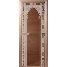 Дверь стеклянная Бронза Восточная арка 210*80 (коробка листва)