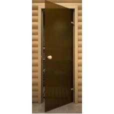 Дверь стеклянная Бронза матовая 190х70, 6мм круглая ручка, защелка