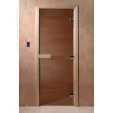 Дверь стеклянная Бронза 200х70 (коробка хвоя)
