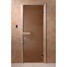 Дверь стеклянная Бронза матовая 190х70, 6мм, 2 петли (коробка хвоя)