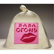 Шапка для бани с аппликацией Баба Огонь