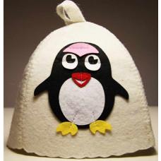 Шапка для бани с аппликацией Пингвинчик