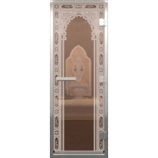 Дверь стеклянная в хамам Бронза Восточная арка 190х70