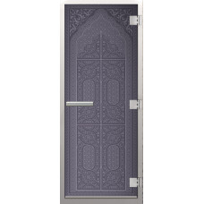 Дверь стеклянная в хамам Бронза Восточная арка 3d матирование 190х70