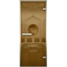 Дверь стеклянная в хамам Бронза лайт 190х70 Z-образный профиль