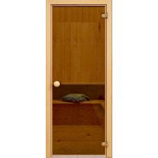 Дверь стеклянная Бронза 190х70, 6мм круглая ручка, защелка