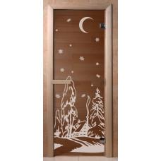 Дверь стеклянная для бани и сауны Бронза Зима 190*70 (коробка хвоя)