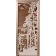 Дверь стеклянная для бани и сауны Бронза Рассвет 190х70 (коробка листва)