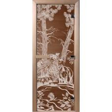 Дверь стеклянная для бани и сауны Бронза Мишки 190*70 (коробка листва)