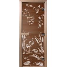 Дверь стеклянная для бани и сауны Бронза Камышовый рай 190х70 (коробка листва)