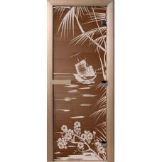Дверь стеклянная для бани и сауны Бронза Лагуна 190х70 (коробка листва)