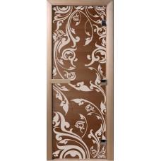 Дверь стеклянная для бани и сауны Бронза Венеция 190х70 (коробка листва)
