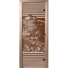 Дверь стеклянная для бани и сауны Бронза Япония 190х70 (коробка листва)