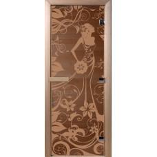 Дверь стеклянная для бани и сауны Бронза Девушка в цветах 190*70 (коробка хвоя)