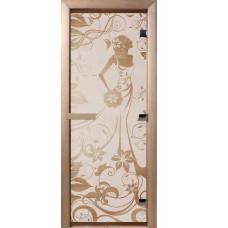 Дверь стеклянная для бани и сауны Бронза матовая Девушка в цветах 200*70 (коробка листв.)