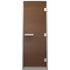 Дверь стеклянная в хамам Бронза матовая 180х70