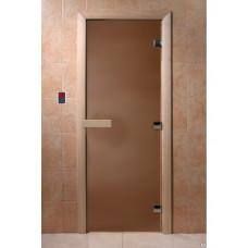 Дверь стеклянная для бани или сауны Бронза матовая 210х90 (коробка листва)