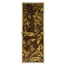"""Дверь стеклянная для бани и сауны LUXURY """"Золотая Венеция"""" (бронза) 190х70"""