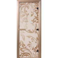 Дверь стеклянная для бани и сауны Сатин Венеция 190х70 (коробка листв.)