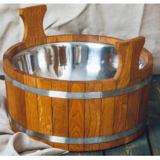 Шайка банная 15 л дуб с нержавеющей вставкой