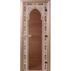 Дверь стеклянная для бани и сауны Бронза Восточная арка 180*70 (коробка листва)