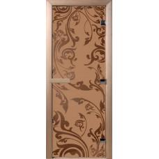 Дверь стеклянная для бани и сауны Бронза матовое Венеция 190х70 (коробка листва)