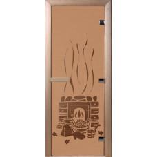 Дверь стеклянная для бани и сауны Бронза матовая Банька 190х80 (коробка листва)