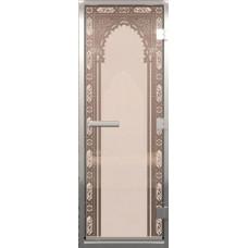 Дверь стеклянная в хамам Сатин Восточная арка 190х70