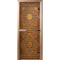 Дверь стеклянная для бани и сауны Фотопечать 190х70, А022