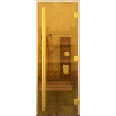 Дверь для бани и сауны стеклянная Престиж Золото Бронза 200х70 (коробка листва)