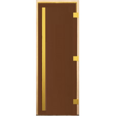 Стеклянная дверь для бани и сауны Престиж Золото Бронза матовая 200х70 (коробка листва)