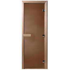 Дверь стеклянная Бронза матовая 200х60 (коробка листва)
