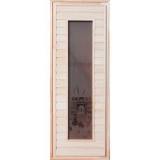 Дверь глухая остекленная (сорт А) 1900*700 прямоугольн. стекло (цветн. рис.)