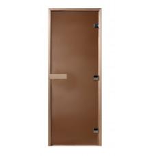 Дверь стеклянная Бронза матовая 180х60 (коробка листва)