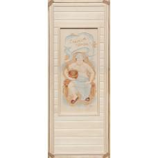 Дверь глухая пано с резьбой 3D С легким паром (мужичек) 1800*700