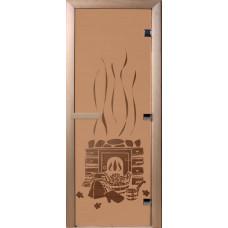 Дверь стеклянная для бани и сауны Бронза матовая Банька 190х70 (коробка листва)