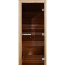 Дверь стеклянная Бронза Эталон 190х70 (коробка листва) толщина 1см
