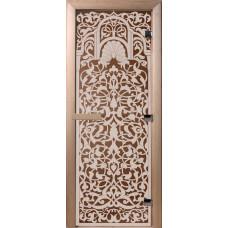 Дверь стеклянная для бани и сауны Бронза Флоренция 2000х80 (коробка листва)