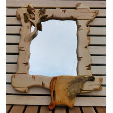 Зеркало в раме в ветках ручная резьба Березка
