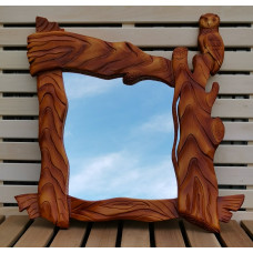 Зеркало в раме Сова ручная резьба тонировка