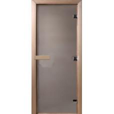 Дверь стеклянная Сатин 210х90 (коробка листва)