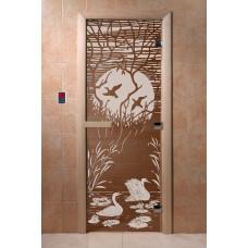 Дверь стеклянная для бани и сауны Бронза матовое Лебединное озеро 190*70, (коробка хвоя)